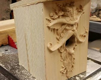 Carved front birdhouse - mystic man