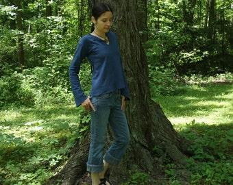 hemp clothing - long sleeve v-neck shirt - 100% hemp and organic cotton - custom made to order - hand dyed