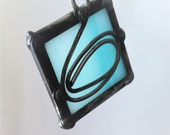 Blue Stained Glass Dazzler 1-3/8 x 1-3/8""