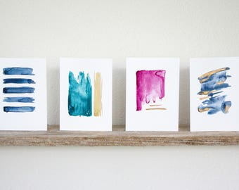 Pack of 4: Gold Accent Greeting Card Set
