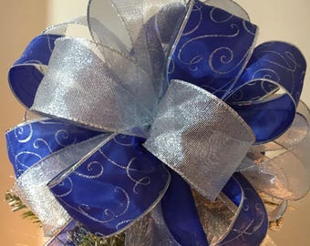 Large Christmas Tree topper bow sheer shimmery silver snd a blue with silver swirl ribbons 8 ft tails