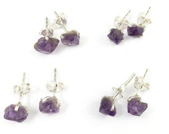 Sterling Silver Gemstone Earrings-Amethyst Stud Earrings-Raw Amethyst Earring Studs-February Birthstone Gifts for Her SKU: 694000-AMT