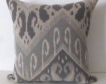 Gray Mono Tone Ikat Pillow Cover