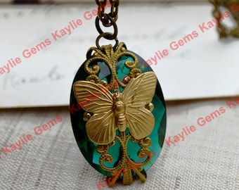 Butterfly Necklace Filigree Wrapped Emerald Green Glass Jewel Statement Designer Jewelry