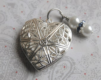 Something Blue Bouquet Charm, Heart Locket Charm, Wedding Accessory
