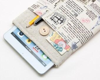 30% OFF SALE Famous Statues Pattern iPad Mini Case with button closure. Padded Cover for iPad Mini 1 2 3 4. iPad Mini Sleeve Bag.