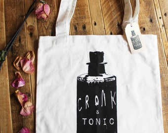 Gin Poison Bottle, Cronk and Tonic, heavy duty cotton screen printed tote bag