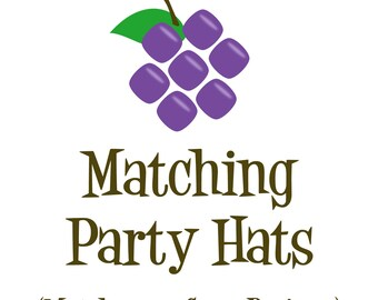 Matching Party Hat - Made to Match any Design in my Store - Personalized Birthday Party Hat - a Digital Printable File