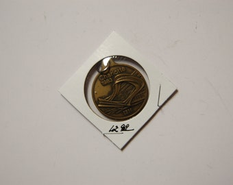 IBM 1983 Charm Token with Fastener---Key Chain Fob-Marked Charlotte NC-IBM Hdqs  Opening