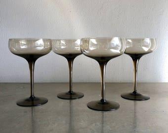 vintage champagne coupes mod smoke modern set of 4 glam barware