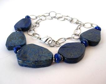 Lapis Chain Necklace, Lapis Bib, Lapis Slabs, Genuine Lapis, Lapis Antique Silver Necklace, Lapis Jewelry, Faceted Lapis Necklace