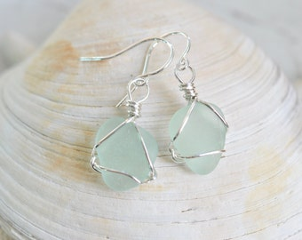 small sea glass earrings in pale green/sea foam – dangle earrings - eco friendly sea glass jewelry