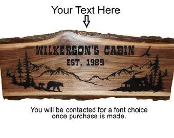 Black Bear Decor, Bear Sign, Rustic Bear Sign, Personalized Sign, Bear Sign, Rustic Welcome Sign, Wood Sign, Rustic Sign,  Engraved Sign