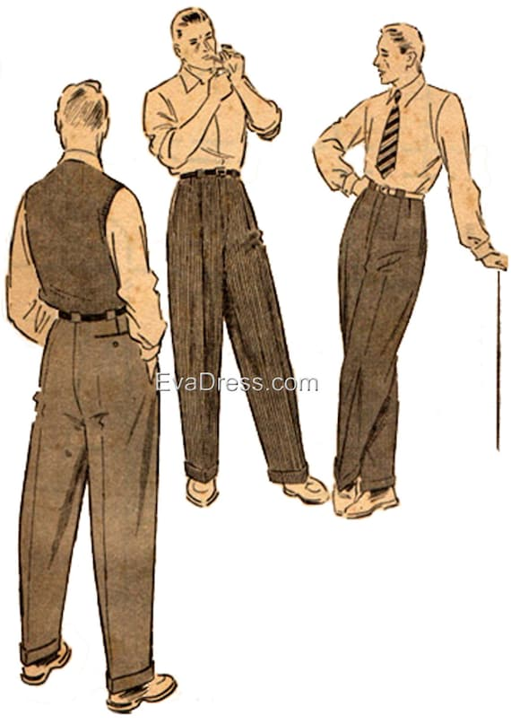 1950 Men\'s Trousers Pattern by EvaDress from EvaDress on Etsy Studio