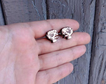 Wood Zombie studs. With sterling silver or stainless steel posts. Wood zombie earrings, halloween jewelry, horror jewelry, halloween earring