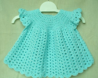Crochet Baby Dress, Angel top, approx 3-6 months Pale turquoise