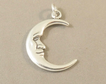 MAN in the MOON Charm .925 Sterling Silver Double Sided Charm Face Crescent Celestial Mystical Astrology New my20