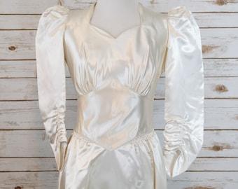 1940s Liquid Satin Wedding Gown