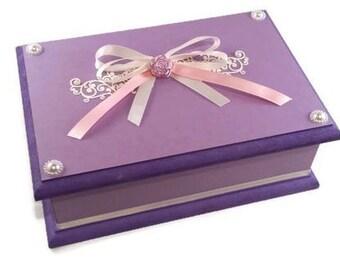 Lilac & Cream Keepsake Box, Trinket Box, Treasure Box, Jewellery Box, Wooden Box, Personalised Box