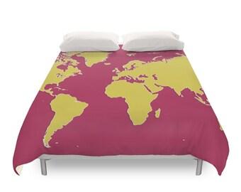 world map duvet cover modern duvets children bedding earth planet funny colors