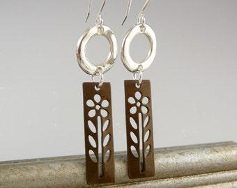 Flower Earrings, Brass Jewelry, Circle Earrings, Long Dangle Earrings, Gift for Gardener, Cool Earrings, Flower Jewelry, Mothers Day Gift