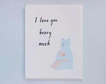 I Love You Beary Much - papercut collage card