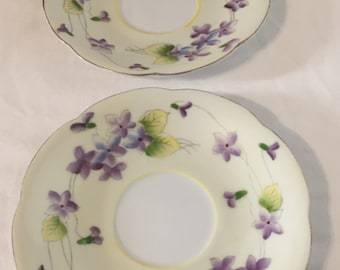 "violets on Tea saucer Japan ""M"" in Wreath Small Size Gold Trim Bone China set of two"