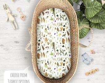Australian Botanical Cot Sheets Bushland Native Flora | Fitted Cot Sheet or Bassinet Sheet | Kona Cotton, Organic Cotton