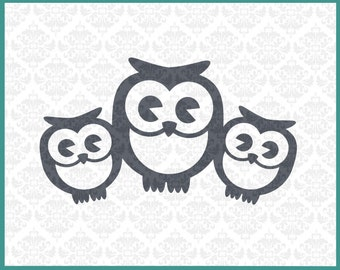 CLN0135 Owl Family 2 Kids Single Mommy Daddy Baby Mother Father SVG DXF Ai Eps PNG Vector Instant Download Commercial Use Cricut Silhouette