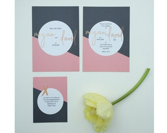 Grey // Pink // Rose Gold // Minimal // Modern Wedding Stationery // Wedding Invitations