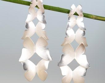 Pendientes plata mariposas, pendientes largos boho, pendientes mariposa hechos a mano