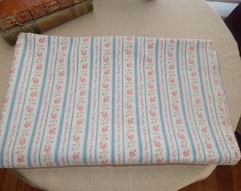 Beautiful Vintage Robins Egg Blue Stripe Tiny Pink Flowers Floral Pillow Case Feather Pillow Ticking Fabric