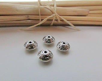 10 Pearl 7 x 4 mm Tibetan silver - 1 mm hole - 28.34