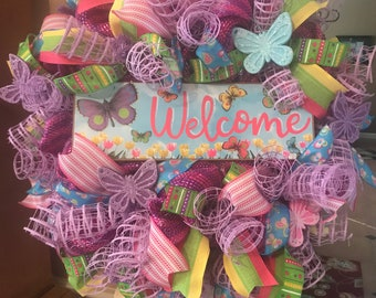Spring Welcome Wreath, Welcome Spring, Pastel Welcome