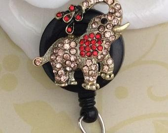 Rhinestone Pink Elephant Retractable ID Badge Reel, Nurse Badge Reel