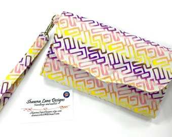 wallet with wrist strap, Ready to ship gift, wristlet, cell phone accessory, phone wallet, purple pink wallet, small purse, small handbag
