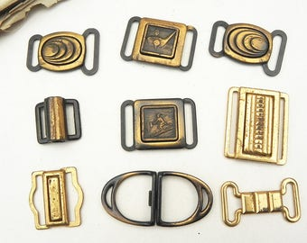 Lot of 9 Vintage Sample Belt Buckles Sewing Craft Assemblage Steampunk Supply