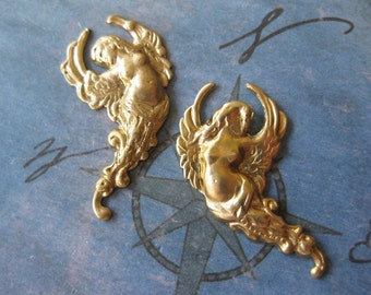 2 PC Brass Winged Nouveau Angel - Lft /Rt Facing Pair - KK15 & 16