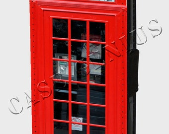 Red Telephone Booth Box London Retro Vintage iPhones and Samsung Galaxy Leather Wallet Cover