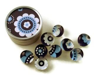 Glass Push Pins  Thumb Tacks Cork Board Pins in Betty Blue  with Gift Tin (PT33)