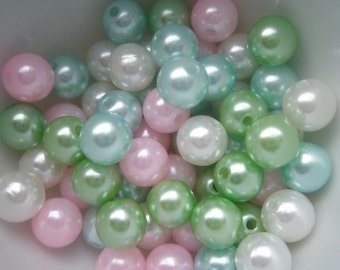 ASSORTED Colorful  Pearlized round BEADS 8mm 50pcs TA-1