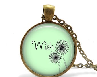 WISH  - Message Pendant, Necklace or Key Chain - Choice of 4 Bezel Colors - One Inch Round