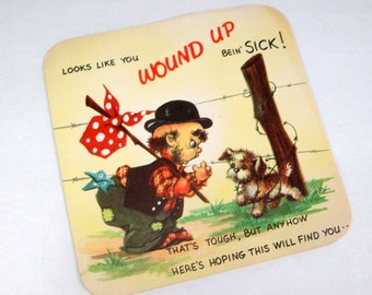 Vintage Get Well Greeting Card, Mid Century, Funny, Mid Century  (1592-09)