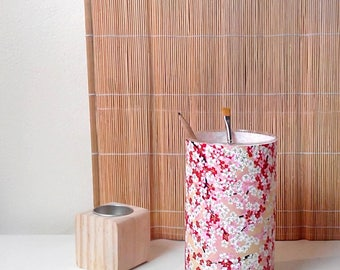 Glass candle. Vase. Pencil holder. Cherry Blossom patterns. Japan.