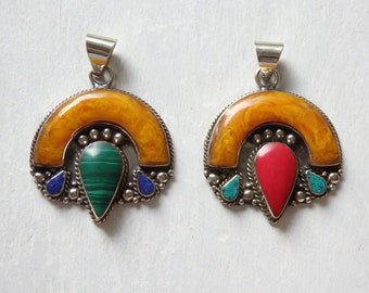 Large amber resin pendant from Nepal, Choose either Malachite or Red Coral - ONE large Nepalese pendant, ethnic Himalayan jewelry - 1 pc.