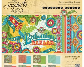 BOHEMIAN BAZAAR by Graphic 45 - 12x12 Paper Pad Only  - Rare and RETIRED Collection -