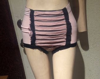 Pink and black ruffle high waist panty