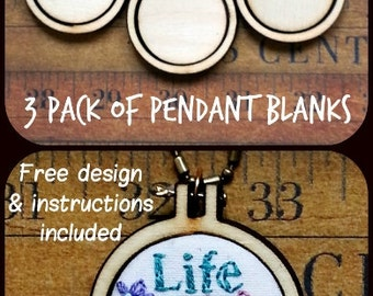 3 Teeny tiny Mini Hoop Pendant Embroidery Blanks - wood pack Frame Necklace Craft Supply Jewelry
