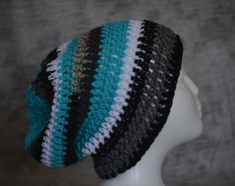 Striped crocheted slouchy beanie hat (blue, black, gray, white, multi)