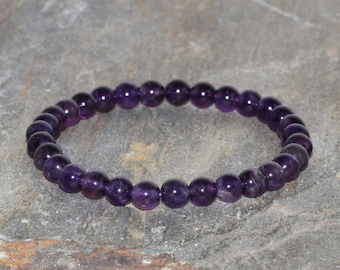 6mm Amethyst Bracelet. Anxiety Relief. Meditation bracelet. Psychic Attack. Third Eye Bracelet. Calming Bracelet.Dark Purple Quartz Bracelet